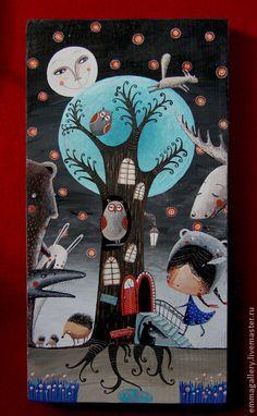"Фантазийные сюжеты ручной работы. Ярмарка Мастеров - ручная работа Картина ""Sweet home"".. Handmade."