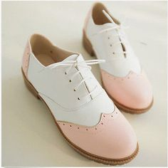 Womens-Flat-Heel-Oxfords-Casual-Shoes-Lace-Up-Stitching-Colors-Wing-Tip-Plus-Sz