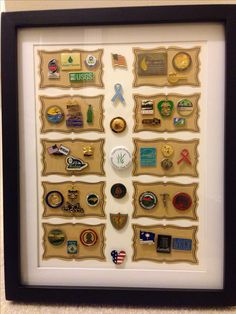 Shadow box for lapel pins, with stickers added to give unique and original look.