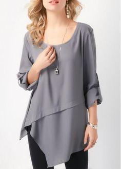 Fashion Irregular Long sleeve T-Shirts - ClothingI Chemise Fashion, Stylish Coat, Grey Blouse, Summer Blouses, Blouse Designs, Dress Designs, Dress Patterns, Sewing Patterns, Shirt Style