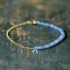 Tanzanite Gemstone Bracelet Precious Gem Gold Chain Delicate Handmade Jewelry. $98.00, via Etsy.