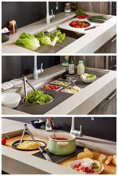 Mix and match with our ledge kitchen sink accessories! Cutting boards, colanders, roll mats and more are available in a choice of bamboo, white or black. sink Ledge Sink Accessories by Create Good Sinks New Kitchen Cabinets, Kitchen Pantry, Kitchen Countertops, Diy Kitchen, Kitchen Gadgets, Kitchen Storage, Kitchen Dining, Kitchen Ideas, Kitchen Decor