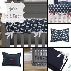Navy mix and match crib bedding. Create a unique look for your baby's nursery!