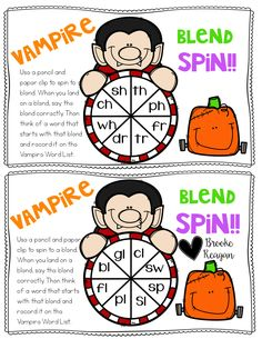 This is part of my product Halloween in the Special Education Classroom. This fun game, Vampire Blend Spin helps students with blends and also words that start with the blend.