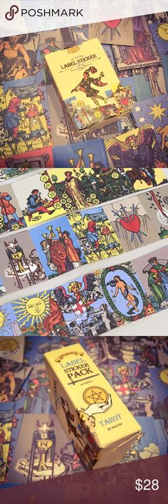 Vintage Miniature Rider Waite Tarot Card Stickers Purchase includes 48 stickers in sealed box. This is a NEW boutique item. Rider-Waite Tarot style. Excellent high quality.  Be creative!..  You can wear them, scrap book, make your own pins, attach to phone case.. the magical possibilities are endless really 🔮💫 tarot Accessories
