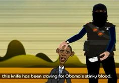 """VIDEO: ISIS cartoon depicts beheading of US President Barack Obama, whom they call """"mule of the Jews"""". The will kill him in an instant, given the chance. Wake up, Obama! Photo By: MEMRI"""