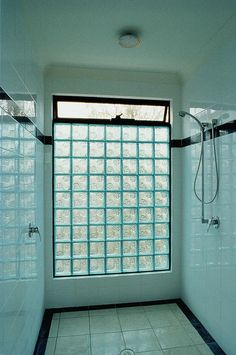 Vented Glass Block shower wall to let light in but keep privacy. Replace outside shower wall to keep shower room from becoming shower cave? Bathroom Windows In Shower, Brick Bathroom, Window In Shower, Shower Bathroom, Glass Blocks Wall, Window Blocks, Glass Block Windows, Window Wall, Block Wall