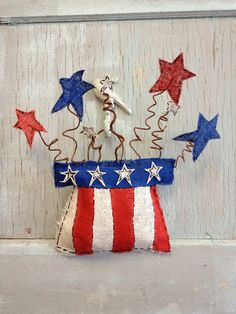 Uncle Sams Hat Fourth of July Burlap Door Hanging.
