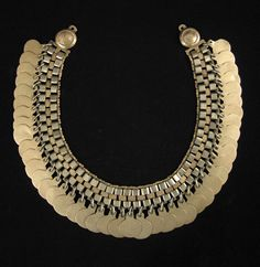 Chile |  A trarilonko, or headband, from the Mapuche of Chile. Made of brass and coin silver.  From the 1950s.
