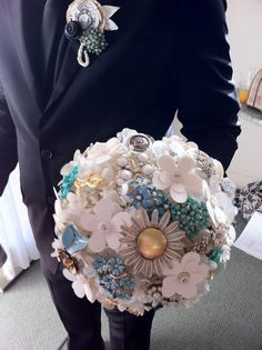 broach bouquet by one of my bride (Lacee Perkins). She's super creative!