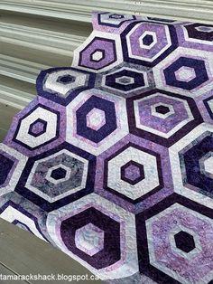 Tamarack Shack Man Quilt, English Paper Piecing, Hexagons, Quilt Making, Pattern Design, Quilts, Blanket, Sewing, Purple