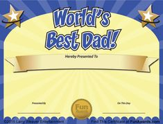 Father& Day Award Certificates Luxury Funny Award Ideas World S Best Dad Father S Day Funny Certificates, Award Certificates, Free Printable Certificate Templates, Fun Awards, Award Template, Worlds Best Dad, Fathers Day Crafts, Good Good Father, Printable Valentine