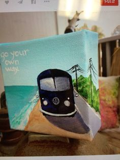 Tiny Classic VW Bus Road Trip Painting With Quote Acrylic On Canvas Go Your Own Way Fleetwood Mac