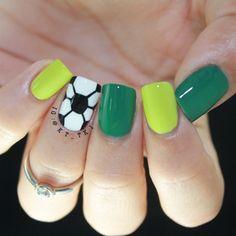Instagram media by kt_tk1 - World Cup soccer ball #nail #nails #nailart
