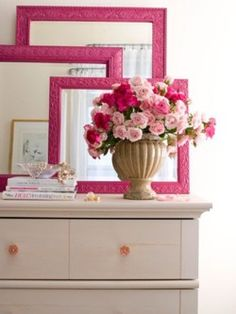 """love these mirrors painted with a pop of  """"not your ordinary paint color""""  and then layered! This will be GREAT in my guest room."""