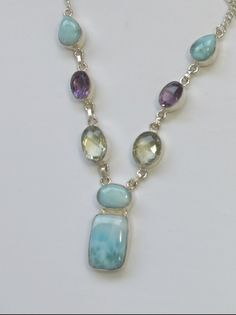 Delicate Larimar Necklace 2 with Green and Purple Amethyst Quartz Silver Pendant Necklace, Gemstone Necklace, Sterling Silver Necklaces, Pearl Necklaces, Crystal Jewelry, Beaded Jewelry, Silver Jewelry, Larimar Jewelry, Diy Jewelry