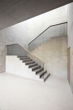 """soudasouda: """" / designed by FHV architectes, this and naturally lit staircase belongs to a swiss office building connecting the two levels together. Detail Architecture, Concrete Architecture, Interior Architecture, Chinese Architecture, Futuristic Architecture, Stair Handrail, Staircase Railings, Stairways, Banisters"""