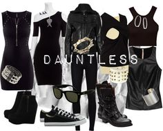 My parents would kill me, but hey, love these outfits! Plus I'm Dauntless so, yeah. Dauntless all the way. Divergent Outfits, Divergent Fashion, Fandom Outfits, Divergent Party, Divergent Dauntless, Divergent Memes, Divergent Fandom, Dauntless Clothes, Dauntless Outfit