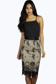 Boutique Sophie Lace Skirt Midi Bodycon Dress at boohoo.com