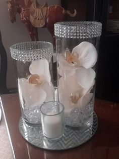 Floral Cylinder Vase Set w/Orchids and Silver/Gold Bling Glitter Anniversary-Birthday-Decor-Centerpiece Simple Cylinder Set will include: 2 ea Cylinder Vases - approx. 50th Anniversary Decorations, Silver Wedding Decorations, 60 Wedding Anniversary, Candle Wedding Centerpieces, Silver Anniversary, Centerpiece Decorations, Quinceanera Centerpieces, Anniversary Ideas, Bling Centerpiece