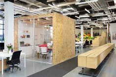 boxed meetings rooms modeled after real airbnb rentals | airbnb dublin office, by heneghan peng