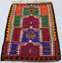 vivid color 5x3 feet vintage rug kilim New by TURQUOISEKILIM