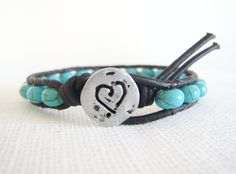 Leather Beaded Bracelet  Turquoise color by TrulyAmberJewelry, $34.00