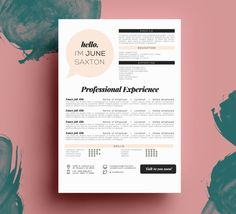 THE JUNE SAXTON resume cover letter package par taupeisdope, $17.50