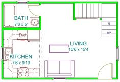 East Texas 16x24 2 Story 2 Bedroom Tiny House Floor Plans Guest House Shed Interior Floor Plan