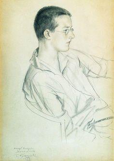 Portrait of composer Dmitri Shostakovich (in adolescence), 1923  Boris Kustodiev