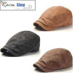 Men Fashion Basic Soft Leather Ivy Cap Bunnet, Newsboy Beret Gatsby Style Hat