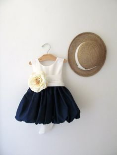 Navy Blue Flower Girl Dress with Swiss Dot Bodice and Pretty Sash