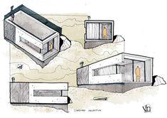 Architectural flow: Surrealist home illustrations by Neyra - Dibuix - Architektur Architecture Concept Drawings, Architecture Sketchbook, Architecture Student, Architecture Plan, Interior Architecture, Pavilion Architecture, Rendering Techniques, Schematic Design, Building Sketch