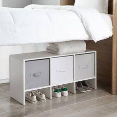 "Latitude Run Nordland 85.9"" H x 41.8"" W Over Bed Shelving Unit   Wayfair Cube Shelves, Cube Storage, Hidden Storage, Storage Ideas, Shelf, Dorm Room Storage, Dorm Organization, Dorm Furniture, Furniture Storage"