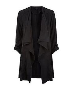 Langgröße – Schwarze Jacke mit Wasserfallkragen | New Look
