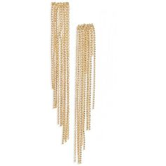 Women's Panacea Chain Fringe Earrings ($24) ❤ liked on Polyvore featuring jewelry, earrings, gold, 14k earrings, earring jewelry, fringe earrings, gold jewelry and gold fringe earrings