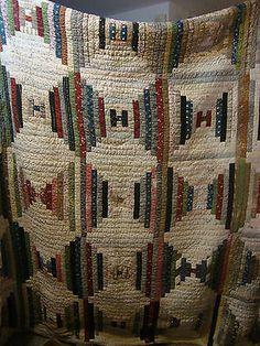 "Vtg Antique Handmade Winter Quilt 80 x 81"" Letter H Log Cabin Variation 1920'S | eBay, cobwebkorners"