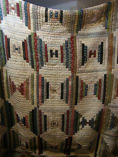 "Vtg Antique Handmade Winter Quilt 80 x 81"" Letter H Log Cabin Variation 1920'S 