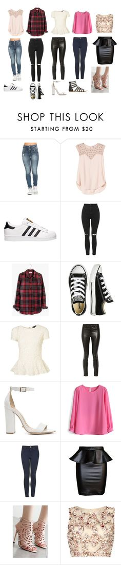 """""""Outfits"""" by cinderalla101 ❤ liked on Polyvore featuring Rebecca Taylor, adidas, Topshop, Madewell, Converse, J Brand, Schutz, Chicwish and Raishma"""