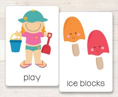 Summer Flash Cards - set of super cute Summer themed flash/vocabulary cards. Summer Words, Family Day Care, Vocabulary Cards, Breakfast Club, Early Childhood Education, Early Learning, Homeschooling, Bugs, Activities For Kids