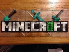MineCraft Logo Perler Bead Design by RatedEforEveryone on Etsy, $15.00
