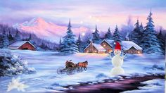 Winter walk - Other Wallpaper ID 1633462 - Desktop Nexus Abstract Christmas Scenes, Christmas Art, Watercolor Landscape, Watercolor Paintings, Beautiful Winter Pictures, Winter Painting, Winter Scenery, Snow Scenes, China Painting