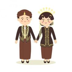 Central Java Indonesia Wedding Couple, cute Indonesian Black Javanese traditional clothes costume bride and groom cartoon vector illustration — Stock Illustration couple animasi couple vector couple illustration Bride And Groom Cartoon, Wedding Couple Cartoon, Javanese Wedding, Indonesian Wedding, Couple Silhouette, Wedding Silhouette, Couple Illustration, Elegant Bride, Wedding Couples