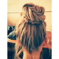 Simple high bun plait hairstyle Hair featuring polyvore, beauty products, haircare, hair styling tools, hair, hairstyles, hair styles, cabelos and beauty