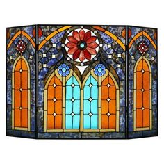 River of Goods Roman Cathedral Stained Glass Fireplace Screen - 16379