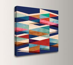 "Mid Century Modern Canvas - Blue, Red, Cream, Teal Colors - Canvas Print - Geometric Art  - Abstract Wall Art  - ""Blue Symmetry"" on Etsy, $59.00"