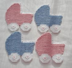 Blue Plastic Canvas Baby Buggy Magnet by LesleesCrafts on Etsy