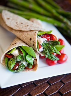 Chicken Asparagus Wraps with Basil Cream Sauce.  A 15 Minute Meal!
