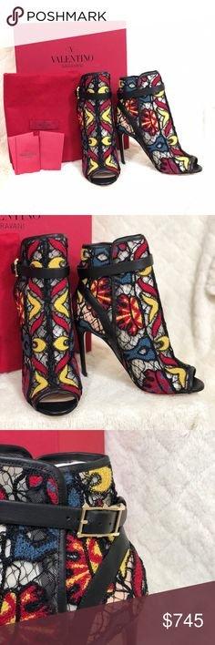 """Valentino Garavani Booties Crochet Leather Booties.  Sz 36/ 6 US  Style: Peep Toe Lace Bootie  Heel 3.75""""  New in box  Box and dust bag included  Retail price $1,445 plus tax Valentino Garavani Shoes Heeled Boots"""