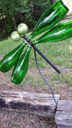 Dragonfly Yard Art | Breathtaking Wine Bottle Crafts Ideas
